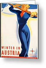 Vintage Winter In Austria Travel Poster Greeting Card