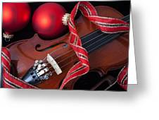 Violin And Red Ornaments Greeting Card