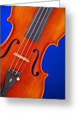 Violin Isolated On Blue Greeting Card