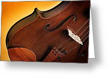 Violin Isolated On Gold Greeting Card