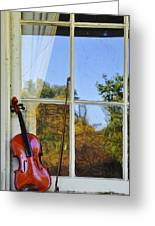 Violin On A Window Sill Greeting Card