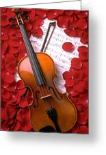 Violin On Sheet Music With Rose Petals Greeting Card