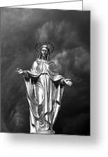 Virgin Mary And The Thunderstorm Bw Greeting Card