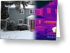 Visible And Infrared Image Of A House Greeting Card