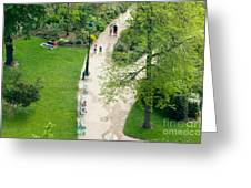 Visitors In The Champ De Mars Greeting Card