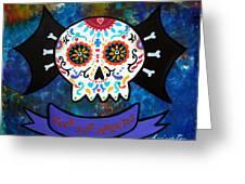 Viva Los Muertos Bat Greeting Card