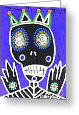 Voodoo King Sugar Skull Angel Greeting Card