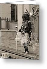 Voodoo Man In Jackson Square New Orleans- Sepia Greeting Card