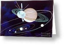 Voyager Saturn Flyby Artwork Greeting Card