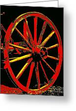 Wagon Wheel In Red Greeting Card