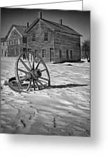 Wagon Wheel In Winter Greeting Card