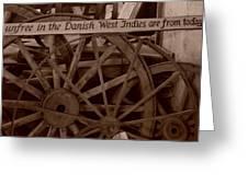 Wagon Wheels Of St. Croix Greeting Card by Dennis Stein