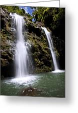 Waikani Falls And Pond Greeting Card