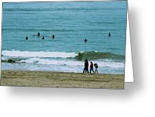 Waiting Surfers Greeting Card