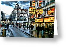 Walking Down The Street Of Amsterdam Greeting Card
