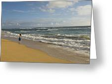Walking In The Water At  Anahola Beach Greeting Card