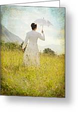 Walking On The Meadow Greeting Card