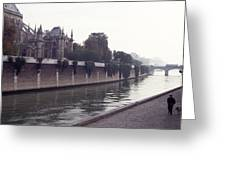 Walking The Dog Along The Seine Greeting Card