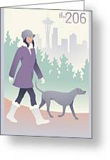 Walking The Dog In Seattle Greeting Card