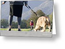 Walking With Her Dogs Greeting Card