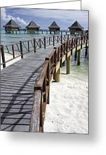 Walkway To Holiday Huts Over Lagoon Greeting Card