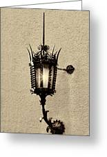Wall Lamp Sepia Greeting Card