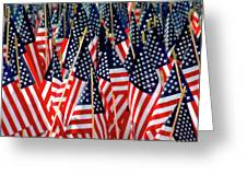 Wall Of Us Flags Greeting Card