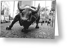Wall Street Bull Bw8 Greeting Card