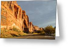 Wall Street Cliff Near Moab Greeting Card by Gary Whitton