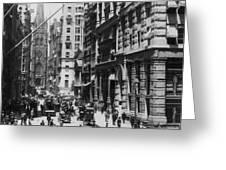 Wall Street Looking Toward Old Trinity Church - New York City - C 1910 Greeting Card