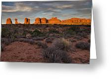 Warm Glow Over Arches Greeting Card