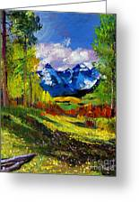 Warm Mountain Valley Plein Air Greeting Card by David Lloyd Glover