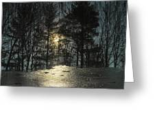 Warmth Above Icy Reflections Greeting Card