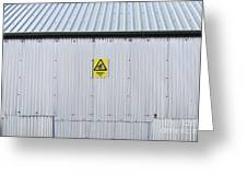 Warning Sign On An Industrial Building Greeting Card by Iain Sarjeant