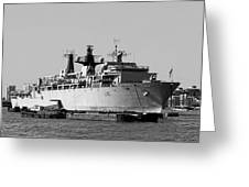Warship Hms Bulwark Greeting Card by Jasna Buncic