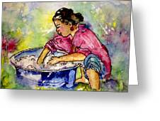 Washerwoman Beauty Greeting Card