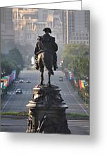 Washington Looking Down The Parkway - Philadelphia Greeting Card by Bill Cannon