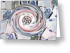 Wasting Money, Conceptual Image Greeting Card