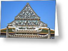 Wat Ratcha Orasaram Temple Gate And Ubosot Gable Dthb858 Greeting Card