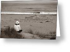 Watching The Ocean In Black And White Greeting Card