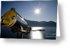 Watching With A Telescope Islands Greeting Card