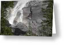 Water Cascading Down The Rock And Greeting Card
