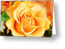 Water Color Yellow Rose With Orange Flower Accents Greeting Card