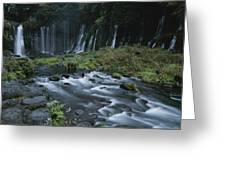 Water Falling And Flowing Over Rocks Greeting Card