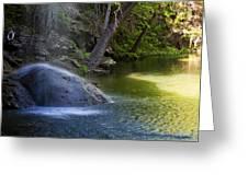Water Falling On Rock Greeting Card