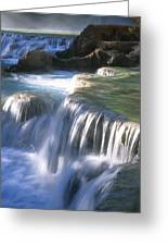 Water Flowes Over Travertine Formations Greeting Card