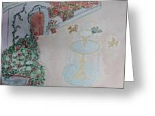 Water Fountain Amidst Garden Greeting Card