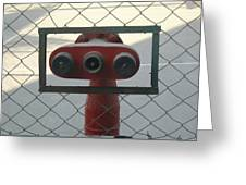 Water Hydrants Built Into A Wire Mesh Fence Greeting Card