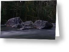 Water Moving Around Rock Greeting Card