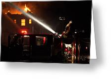 Water On The Fire From Pumper Truck Greeting Card